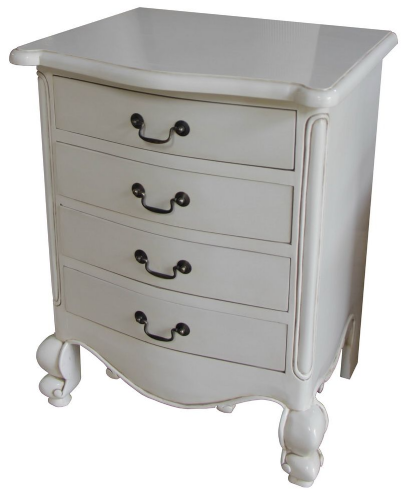 Louis Four Drawer Bedside in Antique White